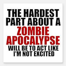 Exciting zombie apocalypse Square Car Magnet 3&quo