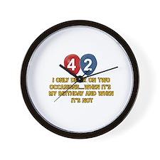 42 year old birthday designs Wall Clock
