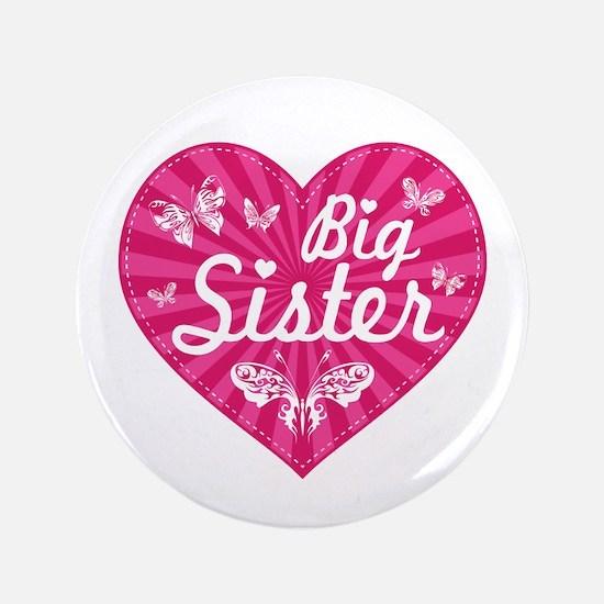 "Big Sister Butterfly Heart 3.5"" Button"