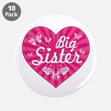 "Big Sister Butterfly Heart 3.5"" Button (10 pack)"
