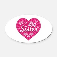 Big Sister Butterfly Heart Oval Car Magnet