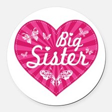 Big Sister Butterfly Heart Round Car Magnet