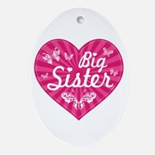 Big Sister Butterfly Heart Ornament (Oval)