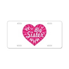 Big Sister Butterfly Heart Aluminum License Plate