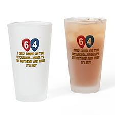 64 year old birthday designs Drinking Glass