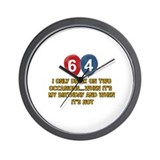 64th birthday Wall Clocks