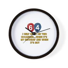 64 year old birthday designs Wall Clock