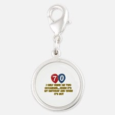 70 year old birthday designs Silver Round Charm