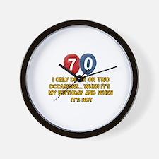 70 year old birthday designs Wall Clock