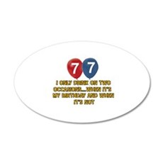 77 year old birthday designs 20x12 Oval Wall Decal