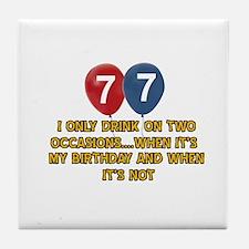 77 year old birthday designs Tile Coaster
