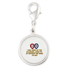 80 year old birthday designs Silver Round Charm