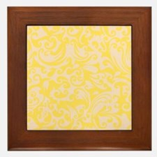 Lemon Zest & Linen Swirls Framed Tile