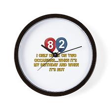 82 year old birthday designs Wall Clock