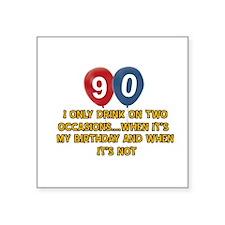 "90 year old birthday designs Square Sticker 3"" x 3"