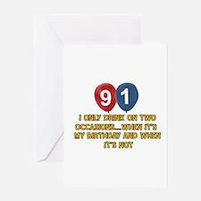 91 year old birthday designs Greeting Card
