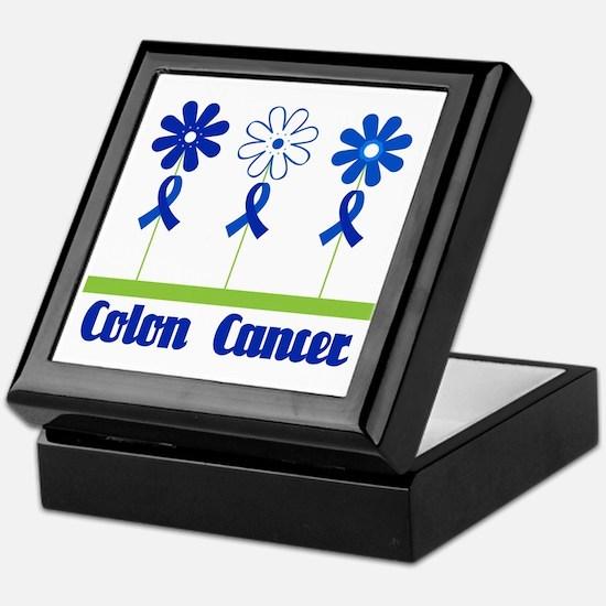 Colon Cancer Flowered Keepsake Box