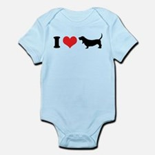 I Heart Basset Hounds Body Suit