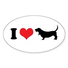 I Heart Basset Hounds Decal