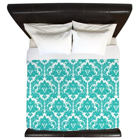 Turquoise Damask pattern King Duvet