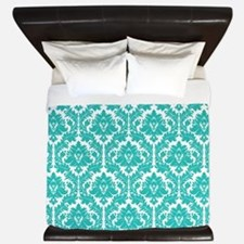 Turquoise Damask pattern King Duvet