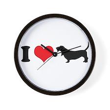 I Heart Basset Hounds Wall Clock