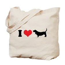 I Heart Basset Hounds Tote Bag