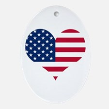 American Heart Oval Ornament