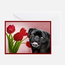 Black pug and tulips Greeting Card