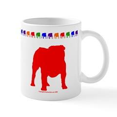 Red Bulldog Silhouette Mug With Border