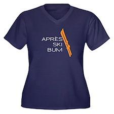 Apres Ski Bum Women's Plus Size V-Neck Dark T-Shir