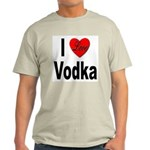 I Love Vodka (Front) Ash Grey T-Shirt