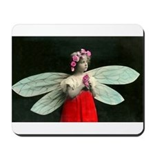 Vintage Little Girl Fairy Wings Mousepad