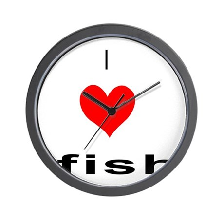 I heart fish wall clock by ridiculousness for Fish wall clock