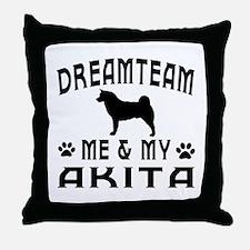 Akita Dog Designs Throw Pillow