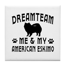American Eskimo Dog Designs Tile Coaster
