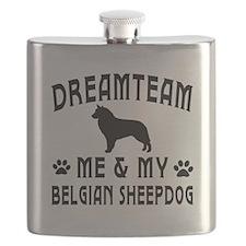 Belgian Sheepdog Dog Designs Flask