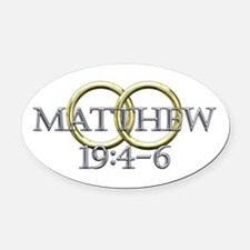 Matthew 19:4-6 Oval Car Magnet