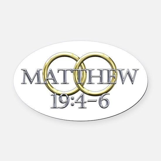 Matthew 19:4-6 Oval Car Magnet