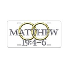 Matthew 19:4-6 Aluminum License Plate