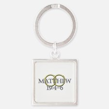 Matthew 19:4-6 Square Keychain
