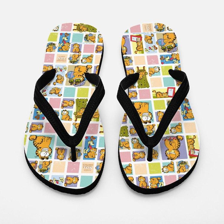 Classic Garfield Squares Flip Flops