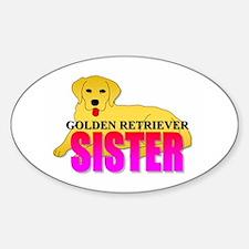 Golden Retriever Sister Oval Decal