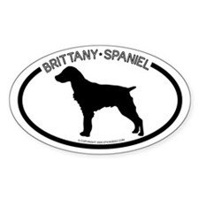 """ Brittany Spaniel"" White Oval Decal"