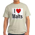 I Love Malts (Front) Ash Grey T-Shirt