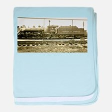 The Train Stop baby blanket