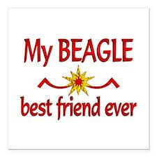 "Beagle Best Friend Square Car Magnet 3"" x 3"""