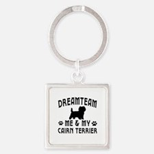 Cairn Terrier Dog Designs Square Keychain