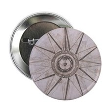 "Medieval Compass Star 2.25"" Button"