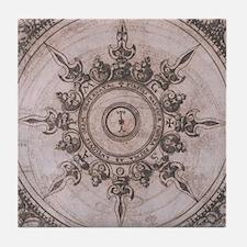 Antique Wind Rose Compass Design Tile Coaster